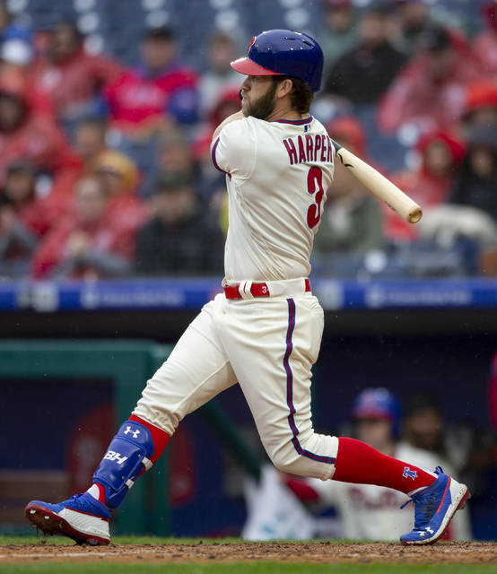 Philadelphia Phillies right fielder Bryce Harper (3) follows though on an RBI single during the sixth inning of a baseball game against the Washington Nationals, Sunday, May 5, 2019, in Philadelphia. Zach Eflin scored. The Phillies won 7-1. (AP Photo/Laurence Kesterson)
