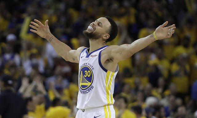 Golden State Warriors' Stephen Curry celebratesduring the second half of Game 5 of a second-round NBA basketball playoff series against the Houston Rockets Wednesday, May 8, 2019, in Oakland, Calif. (AP Photo/Ben Margot)