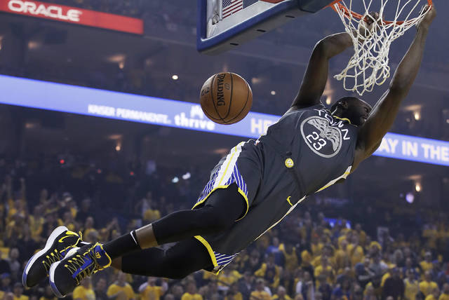 Golden State Warriors forward Draymond Green dunks against the Portland Trail Blazers during the first half of Game 2 of the NBA basketball playoffs Western Conference finals in Oakland, Calif., Thursday, May 16, 2019. (AP Photo/Jeff Chiu)