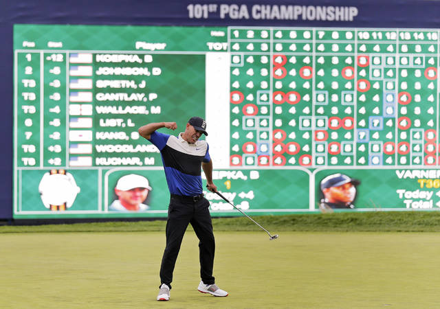 Brooks Koepka reacts after winning the PGA Championship golf tournament, Sunday, May 19, 2019, at Bethpage Black in Farmingdale, N.Y. (AP Photo/Seth Wenig)