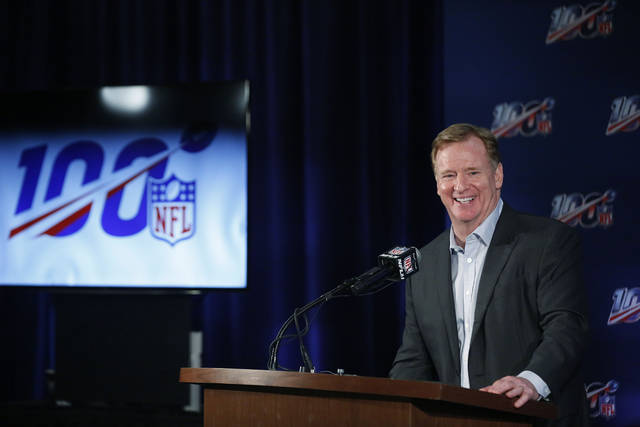 NFL Commissioner Roger Goodell speaks to the media during the NFL football owners meeting on Wednesday, May 22, 2019, in Key Biscayne, Fla. (AP Photo/Brynn Anderson)