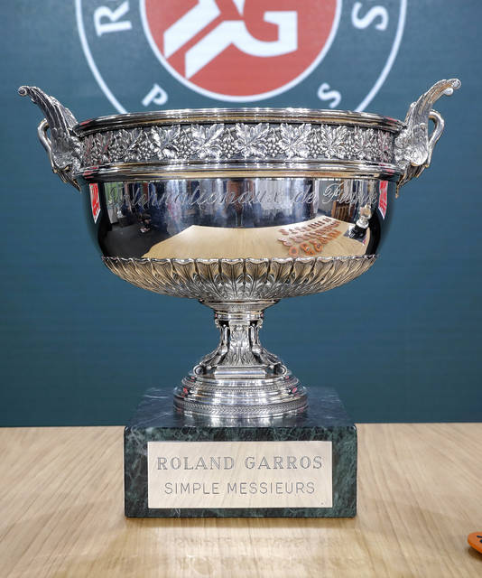"FILE - In this May 23, 2019, file photo, the names ""Roland Garros"" and the original tournament name ""Internationaux de France"" can be seen during the draw of the French Open tennis tournament at the Roland Garros stadium in Paris. English-speakers tend to go with ""French Open,"" even though that's not used by the event itself. Most of the rest of the world says ""Roland Garros,"" which is the facility that hosts the tournament and is named in memory of a World War I fighter pilot. But what hardly ever is uttered is the original name of the tournament ""Internationaux de France"", which translates to ""International Championships of France."" (AP Photo/Michel Euler, File)"