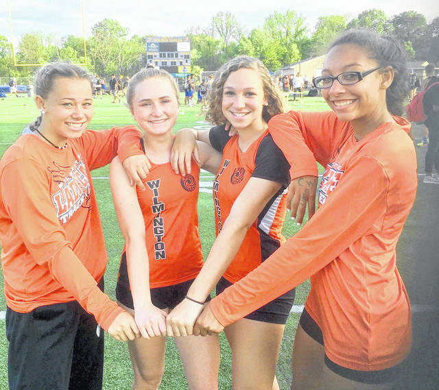 The Wilmington High School girls 4x100-meter relay team established a new personal best time Friday. The quartet of Izzy Coomer, Anna Borton, Sadie Bowman and Sylena Baltazar ran 51.76, which topped their previous PR set on Wednesday.