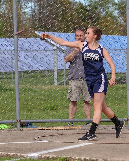 Blanchester eighth grader Ainsley Whitaker will compete Saturday in the OHSAA Middle School Track & Field State Championship meet.Whitaker is in the first flight of the discus competition, which begins 9:30 a.m. Saturday at Lancaster High School. Whitaker's qualifying distance was 91-7, which she achieved April 25 at the Blanchester Middle School Invitational. She is one of 24 athletes scheduled to compete. The top throw going in to the state competition is 108-8.