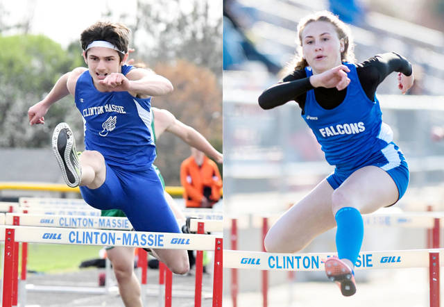 Clinton-Massie hurdlers Alec McDonald (left) and Rylee Richardson (right) combined to win five events Thursday at Fayetteville-Perry High School.