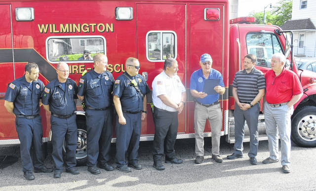 "From left, Wilmington Firefighters/EMTs Bill Jones, Ken Ianson, Jeff Haines, Lt. Brant Schmitt and Chief Andy Mason stand with Mayor John Stanforth, Safety/Service Director Brian Shidaker, and Council President Mark McKay as Friday, May 24 is proclaimed EMS Recognition Day for the City of Wilmington. Stanforth encourages all citizens ""to thank our EMS responders for all that they do in our community."""