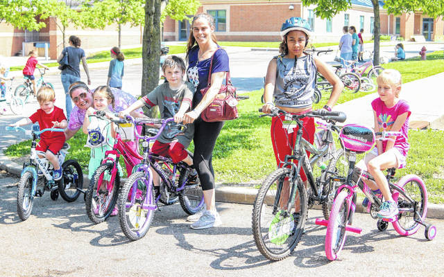 Annabella Bray, A.J. Bray, Adelaide Neff, Cathrine Vaher and Caine Simpson were the proud winners of new bikes during the Blanchester Bike Rodeo on Saturday at Putman Elementary.