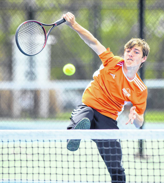 Jacob Romer (shown here) and Brady Henry won the second doubles title Wednesday in the SBAAC American Division tennis tournament at WHS.