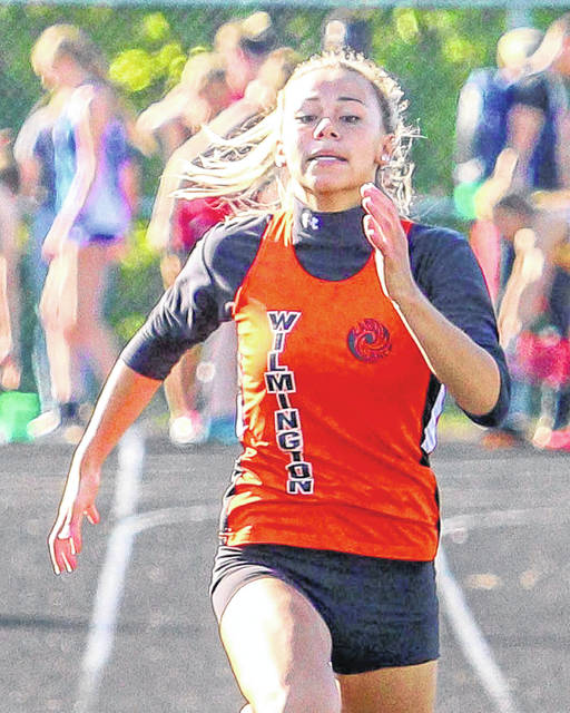 Wilmington's Izzy Coomer scored in three events Wednesday at the SBAAC American Division Track & Field Championship meet.