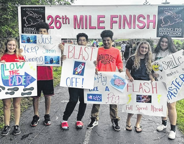 "Youths signed up"" to support the even-younger runners."