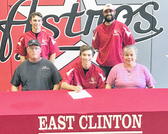 "East Clinton senior Zach Mitchell has chosen Berea College to continue his academic and baseball career. Berea is a Division III institution in Berea, Ky. Berea athletics participate in the USA South Athletic Conference. Mitchell has .467 batting average this season with 18 stolen bases. His on-base percentage is .522. ""We are very proud of Zachary and his commitment to his academics and athletics,"" EC baseball coach Brian Carey said. ""Zach is a leader in the classroom and on the field. I have no doubt he will continue to lead at Berea."" In the photo, from left to right, front row, father Mike Mitchell, Zach Mitchell, mother Jacqueline Mitchell; back row, brother Matt Mitchell and Carey."