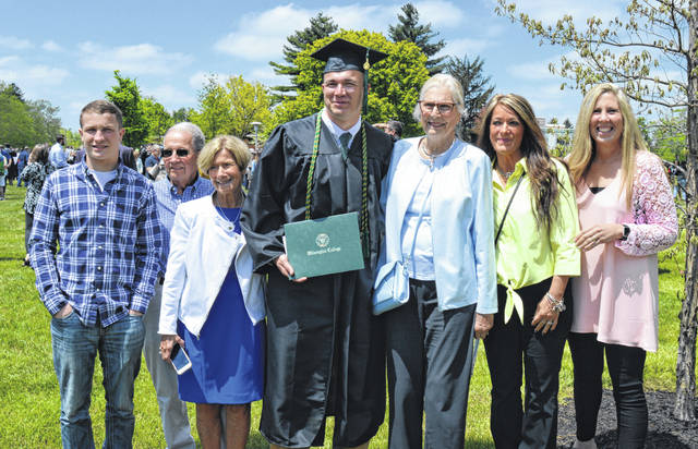 Ryan T. Collett, from Wilmington, received a WC bachelor of science degree in agriculture on Saturday. Here, on aptly named Collett Mall on the college campus, are from left Cameron Collett, Allen Collett, Karen Collett, Ryan Collett, Connie Bailey, Katie Collett, and Laura Moyer.