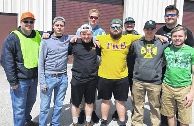 From left are: front, SWMD Coordinator Jeff Walls, and TKB members Abram Werle, Kyle Howard, Nick Lumbard, Mitchell Belland and Logan Hayes; and, back, TKB members Jared Shoemaker, Michael Carroll and Brenden Barger.