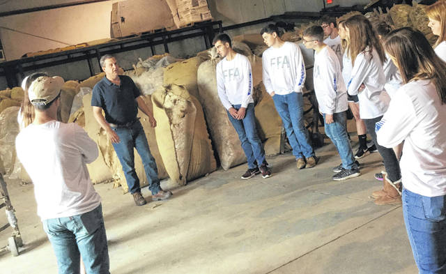 Blanchester FFA members learn at Mid States Wool Growers during their trip to Columbus.