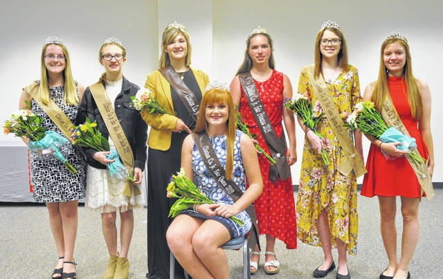 The 2019 Clinton County Junior Fair royalty has been announced. It includes those pictured, from left: FCS Queen Lexi Arehart-McBrayer, Miss Annie Oakley Mikala Hatfield, Fair Princess Paris Eades, 2019 Fair Queen Myah Jones (seated), Fair Princess Carrie Robinson, Goat Queen Mackenzie Osborne and Poultry Queen Darcie Zeckser. The fair will be here before you know it, set for July 6-13.