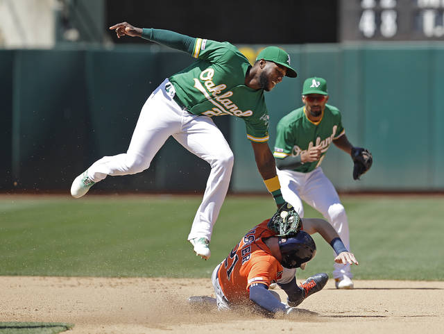Oakland Athletics' Jurickson Profar, left, tags out Houston Astros' Derek Fisher in a seventh inning attempted steal of second base during a baseball game Sunday, June 2, 2019, in Oakland, Calif. (AP Photo/Ben Margot)