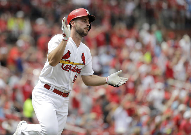 St. Louis Cardinals' Paul DeJong celebrates as he rounds the bases after hitting a two-run home run during the seventh inning of a baseball game against the Cincinnati Reds Thursday, June 6, 2019, in St. Louis. (AP Photo/Jeff Roberson)