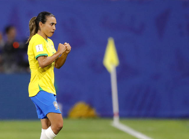 Brazil's Marta reacts during the Women's World Cup Group C soccer match between Italy and Brazil at the Stade du Hainaut in Valenciennes, France, Tuesday, June 18, 2019. (AP Photo/Michel Spingler)