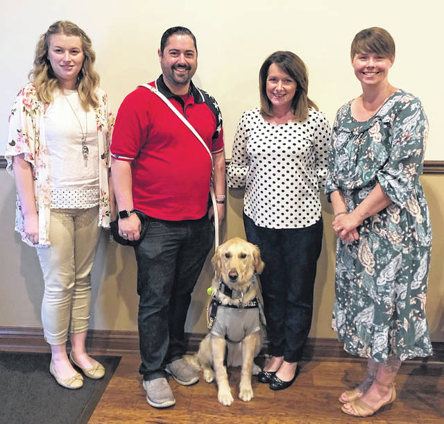 From left are: Erin Sheeley, Community Relations Coordinator, Highland County Chamber; Louis Belluomini and Star; Julie Bolender, Executive Director, Fayette County Chamber; and Dessie Rogers, Executive Director, Clinton County Chamber.
