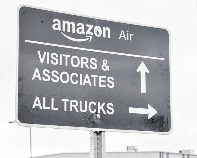New signs point the way for Amazon employees at the Wilmington Air Park.