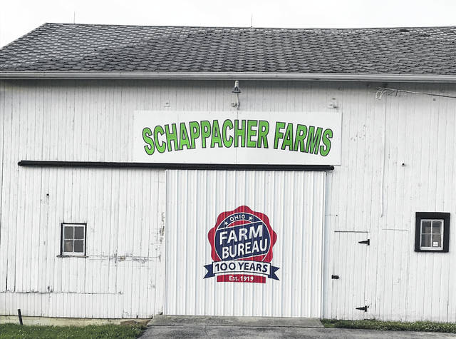The Ohio Farm Bureau is 100 years old this year, and the anniversary is celebrated in this newly painted centennial logo on a Clinton County farm.