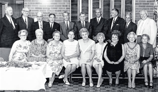 The Wilmington High School Class of 1917 gathered for its 50-year reunion on July 2, 1967 at the Home Federal Building. From left are: front, Genevieve Clark Putnam, Martha Price Stratton, Clara Hildebrecht Griffith, Lorraine Miller Moon, Treva Locke Levering, Olive Riggin Brown, Helen McCoy, Clara Metzger Hagler, and Ruth Haworth Martin; and, back, Sheldon Shrieves, Marion McKay, Joseph Murphy, Richard Hildebrant, Lloyd Wendell, Louis Lieurance (teacher), Harold Vandervort, John Ford, Loren Hadley and Rob Roy Bangham. The photo is courtesy of the Clinton County Historical Society. The Clinton County History Center is now open Saturdays 10 a.m.-2 p.m. For more info, visit www.clintoncountyhistory.org; follow them on Facebook @ClintonCountyHistory; or call 937-382-4684.