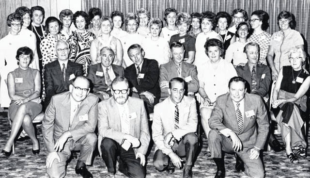 Wilmington High School Class of 1946 held its 25th reunion Aug. 14, 1971 at the Elks Lodge. Shown are: kneeling, Walter Vance, Richard Sapp, Robert Gray and Charles James; seated, Mary Louise (Calvert) Vandervort, Dan Gleason, Gilbert Whiteside, John Godfrey, Ted Morton, Miriam Brown, Woodrow Williams and Esther Williams; and, standing, Betty (Crummie) Handy, Joan (Williamson) Hill, June Stuckey, Rachel (Frazier) Blais, Virginia (Perry) Buckley, Betty (Osborn) Starbuck, Virginia (Flint) Kerr, Betty (Dalton) Miller, Wanda (Walls) Smith, Dorothy (Ballard) Hill, June (Babb) Altenbernd, Evelyn (Michael) Rohr, Goldie (Frazier) Cordle, Beverly (Bryson) Sullivan, Lucille (Black) Rhoades, Ruth (Wical) Charles, Donna (Malone) Gerard, Clarice (Jackson) Hawk, Yvonne (Raizk) Haynes, Marilyn (Minton) Miller and Dorothy (Champlin) Moon.The photo is courtesy of the Clinton County Historical Society. For more info, visit www.clintoncountyhistory.org; follow them on Facebook @ClintonCountyHistory; or call 937-382-4684.