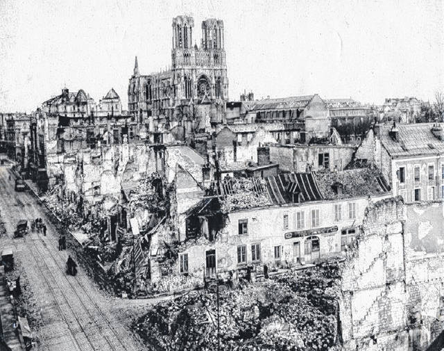 The Rheims (Reims) cathedral some 40 miles from Paris was badly damaged by German bombs.