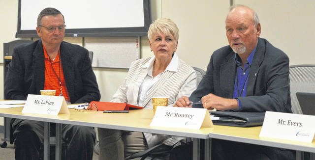 From left at Thursday's session of the Clinton County Port Authority are board members John Settlemyre and Reneé LaPine, and board Chairperson Walt Rowsey.