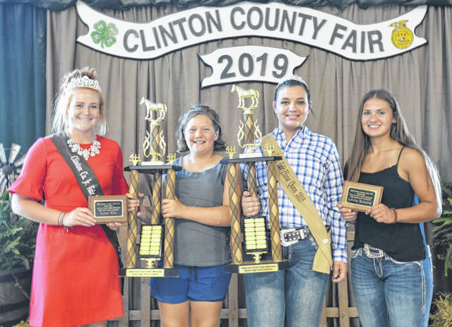 High Point winners with horses earned honors at the 2019 Clinton County Fair; from left are Fair Queen Myah Jones; Kami Kile, 2019 High Point Junior & 2018 High Point; Nicole Longenecker, 2019 High Point Senior; and Nicole Malone, 2018 High Point Senior.