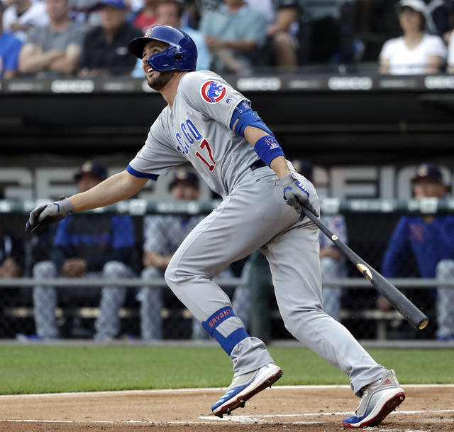 Chicago Cubs' Kris Bryant watches after hitting a one-run single against the Chicago White Sox during the first inning of a baseball game in Chicago, Saturday, July 6, 2019. (AP Photo/Nam Y. Huh)