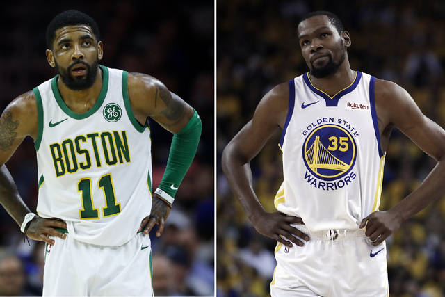 FILE - At left, in a March 20, 2019, file photo, Boston Celtics' Kyrie Irving is shown during an NBA basketball game against the Philadelphia 76ers in Philadelphia. At right, in a May 8, 2019, file photo,  Golden State Warriors' Kevin Durant is shown during the first half of Game 5 of the team's second-round NBA basketball playoff series against the Houston Rockets in Oakland, Calif. Just three seasons ago, the Brooklyn Nets were the worst team in the NBA. On Sunday, June 30, they were the story of the league. They agreed to deals with superstars Kevin Durant and Kyrie Irving as part of a sensational start to free agency, giving the longtime No. 2 team in New York top billing in the Big Apple. (AP Photo/File)