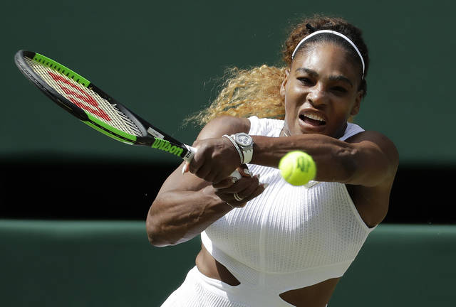 United States' Serena Williams returns to Czech Republic's Barbora Strycova in a Women's semifinal singles match on day ten of the Wimbledon Tennis Championships in London, Thursday, July 11, 2019. (AP Photo/Ben Curtis)