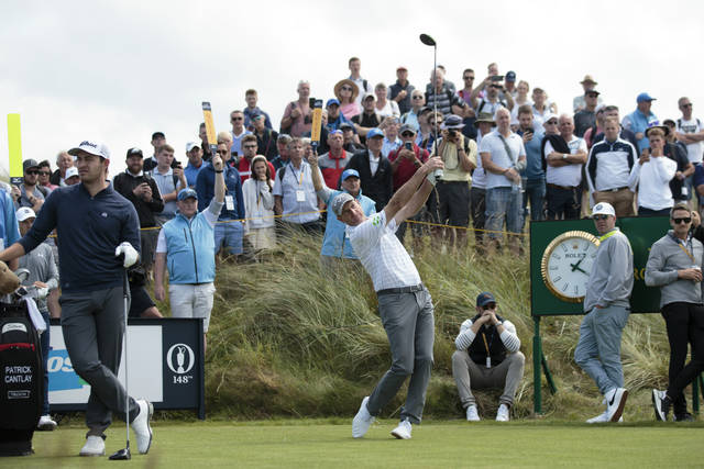 Jim Furyk of the United States drives off the 7th tee during a practice round at Royal Portrush Golf Club, Northern Ireland, Monday, July 15, 2019. The148th Open Golf Championship begins on July 18. (AP Photo/Jon Super)