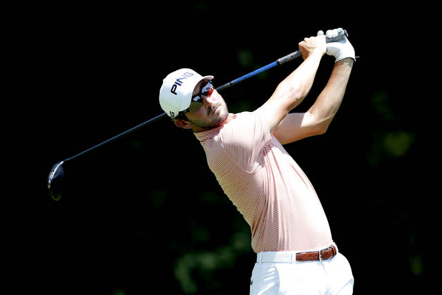 Andrew Landry hits off the second tee during the final round of the John Deere Classic golf tournament, Sunday, July 14, 2019, at TPC Deere Run in Silvis, Ill. (AP Photo/Charlie Neibergall)