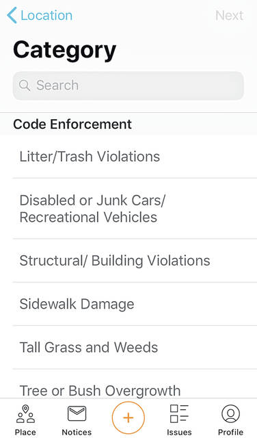 The category page for the city's SeeClickFix app.