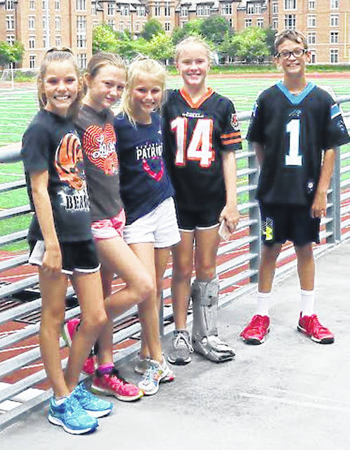 These five Hillsboro students rencetly attended the Fuel Up to Play 60 National Summit in Cleveland on July 16-19. Students stayed on the campus of Case Western Reserve University and had a busy week. Their schedule included activities in which they received leadership and character development training, learned about healthy eating and farm to school initiatives, visited a dairy farm, participated in a cookoff challenge, engaged in a community service project at various Cleveland Metropolitan Schools, and played flag football with several Cleveland Browns football players at First Energy Stadium. According to its website, Fuel Up to Play 60 is an in-school nutrition and physical activity program directed by the National Dairy Council and the NFL to help promote healthy living.