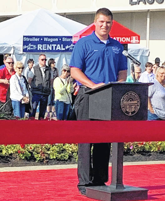 Drew Moyer speaks at this year's Ohio State Fair.