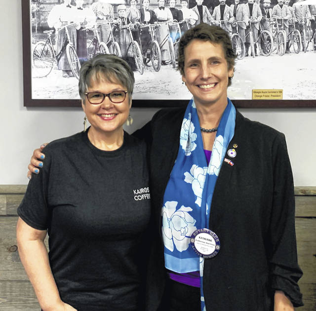 From left are Robyn Morris, co-owner of Kairos Coffee, and Katherine Harrison-Tigar, President of the Wilmington Rotary Club