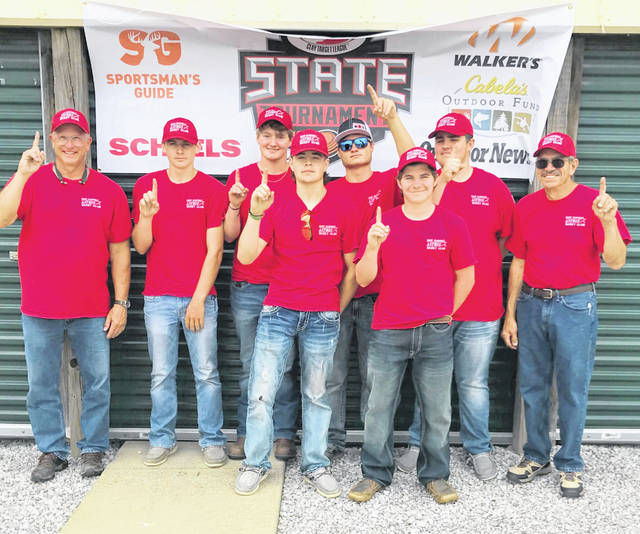 The East Clinton High School skeet club team, from left to right, coach Bruce Warren, Blake Williams, Shane Streber, Wyatt Riddle, Cade Stewart, Brody Fisher, Gage McConahay, scoring Steve Sharp. Unavailable for photo were team members Carter Carey and Hayden Pirman and assistant coach Evan Cadwallader and RSO Cindy Warren.