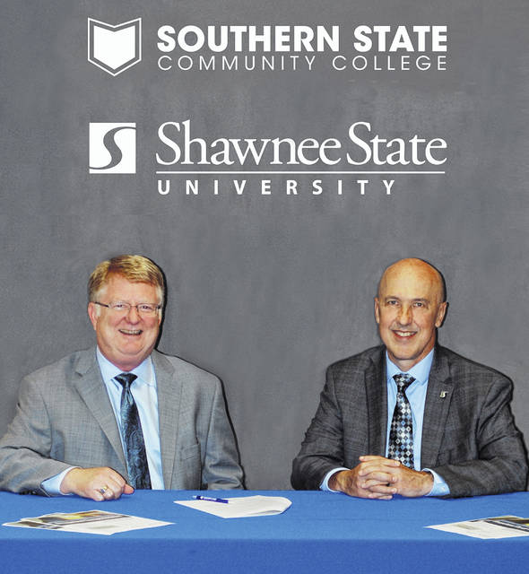From left are SSCC President Dr. Kevin Boys and SSU President Dr. Jeffrey Bauer.