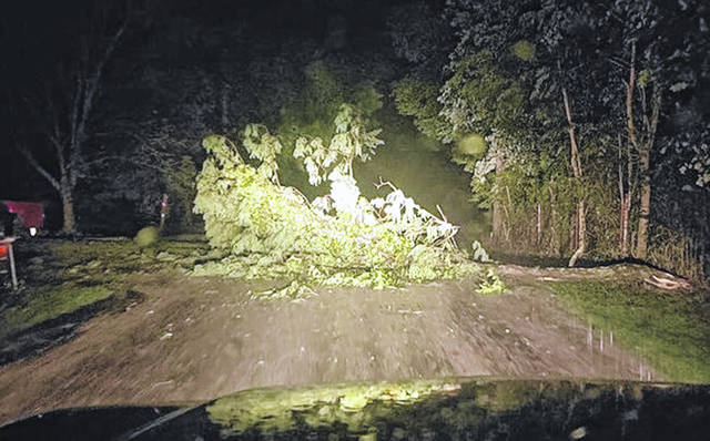 A storm popped up in Clinton County early Tuesday morning, causing some power outages as well as this tree to topple onto Anderson Road. Several dozen Clinton County customers remained without power as of about 10:15 a.m. Tuesday, according to DP&L.