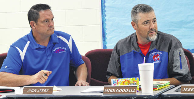 It may still be summer break, but there's always school business to conduct. From left at Monday's regular monthly meeting are Clinton-Massie Local Schools Board of Education members Andy Avery and Mike Goodall.