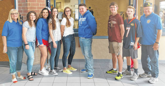 From left are Joyce Kelly, Kelsey Naylor, Eliana Tacoronte, Kayla Allen, Alexis Davis, Kaleb Goodin, Matthew O'Neill, Daniel Davenport, and Bruce Barricklow.