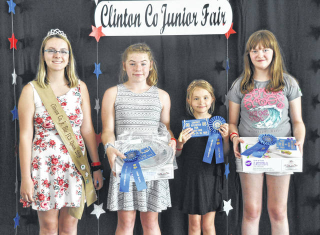 Cake Decorating winners are all state fair-bound. From left are: FCS Queen Lexi Arehart-McBrayer; Emma Riddle — Advanced, also Overall Winner; Addison Wright — Beginner; and Flora Frayek — Intermediate.