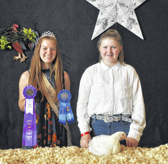 Grand Champion Meat Fryer went to Kaydence Beam, shown with Poultry Queen Darcie Zeckser.
