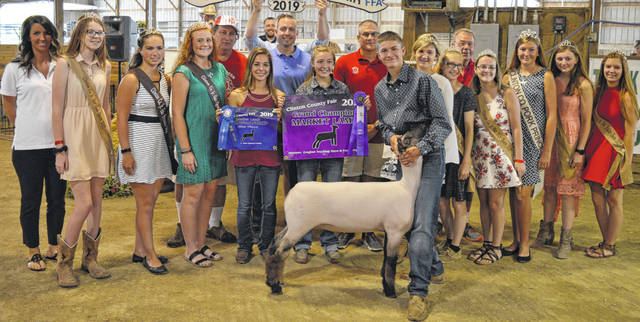 The Grand Champion market lamb exhibited by Dakota Collom of the New Vienna area collected $1,625 in the Clinton County Junior Fair livestock sales. The buyers are ATSG (Air Transport Services Group), Achor Club Lambs Lamb Power Club, Air Transport International (ATI), American Equipment Service, Bush Auto Place, Caesar Creek Animal Clinic / Dr. Matt Carey, Cherrybend Pheasant Farm / Ellis Farms, Greater Tomorrow Health, Groves Tire & Service, Kevin Gump, HuDawn Facility Solutions, Jackie and Joe Beall, LT Land Development, Maxwell Family, R+L Carriers / Roberts Centre, Janielle Ruyon, Southern Hills Community Bank, Sunrise Cooperative, Wilmington Lions Club, and Wilmington Savings Bank.