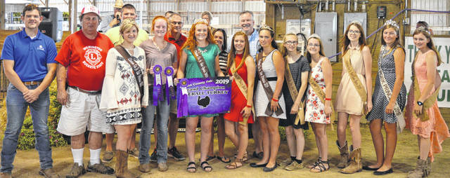 The Grand Champion turkey exhibited by Myah Jones of the New Vienna area garnered $750 at the Clinton County Junior Fair livestock sales. The buyers are American Equipment Service, Arehart-Brown Funeral Services, Barger Property Services, Bronson Door Company, CM Farms, Cherrybend Pheasant Farm / Ellis Farms, Clinton Memorial Hospital, Mark and Rachel Duncan, First State Bank, Groves Tire & Service, Derek and Kelli Jamison, Johnson Farms, Nationwide Insurance Justin Holbrook, Peoples Bank, R+L Carriers / Roberts Centre, Sunrise Cooperative, Wilmington Lions Club, and the World Equestrian Center.