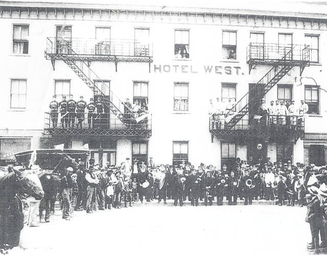 "It appears that the whole town of Wilmington celebrated in August 1897 as the Cincinnati Red Stockings baseball team came to Wilmington by train to play the semi-pro Wilmington Clintons. Mayor ""Uncle Pete"" Doan escorted the Red Stockings from the B&O Railroad Depot to the Hotel West, where this photo was taken. The photo is courtesy of the Clinton County Historical Society. The Clinton County History Center is now open Saturdays 10 a.m.-2 p.m. For more info, visit www.clintoncountyhistory.org; follow them on Facebook @ClintonCountyHistory; or call 937-382-4684."