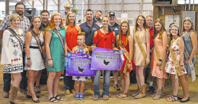 The Reserve Champion fryer exhibited by Ava Hester of the Martinsville area brought $1,450 at the Clinton County Junior Fair livestock sales. The buyers are American Equipment Service, BDK Feed & Supply, Bollinger Plumbing, Bronson Door Company, Clinton Animal Care Center, Clinton Memorial Hospital, First State Bank, Fisher-Edgington Funeral Home, Groves Tire & Service, Hester Sealcoating, Johnson Farms, Kwest Communications, Lewis Financial Group, Lowe's, No. 1 China Buffet, PNC Bank, R&R Tool, Reynolds-Smith Funeral Homes, Rippling Rock Hereford Farm, Skyline Chili in Wilmington, Southern Hills Community Bank, and the Wilmington Auto Center - Chrysler, Dodge, Jeep, RAM.